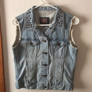Studded denim vest. ROCK & REPUBLIC.